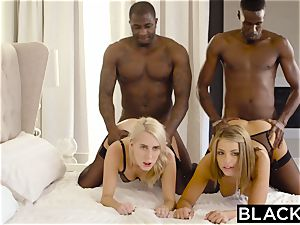 BLACKED Adriana Chechik and Cadence Lux very first interracial foursome