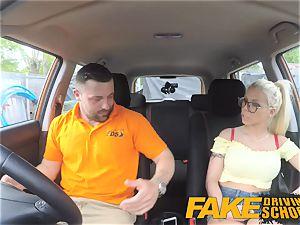 fake Driving school large boobies platinum-blonde gets pummeled