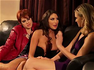 August Ames and Lily Cade rope on couch hump