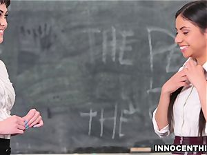 teenage schoolgirl has a superb FFM three way with the tutors