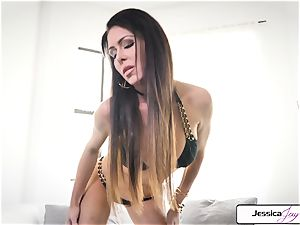 Jessica Jaymes flash you her humungous boobies and wet pussy