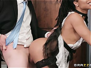super-hot dark-hued maid almost get caught