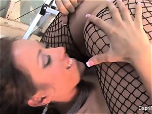 Capri and Jenaveve have killer fun in fishnets