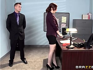red super-hot secretary Ember Stone disciplined by her chief