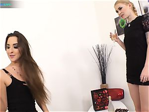 excellent sweetie Amirah Adara and inked damsel Misha Cross plays with their faux-cocks
