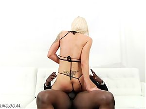 Luxury pornstar Nina Elle takes a big black mamba in her scorching cunny