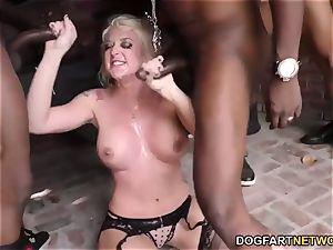 Leya Falcon bj's and deep-throats many black penises