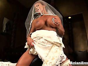 sybian saddle rail on her wedding day