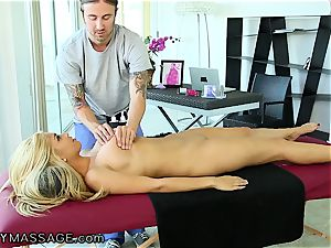FantasyMassage big-titted babe orders massage In Office