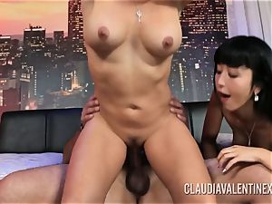 Claudia Valentine joins a duo for a 3 way