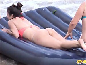 inexperienced Beach mind-blowing g-string swimsuit nubile - voyeur vid