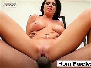 Romi Rain takes on a fat ebony rod!