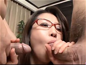 Mizuki Ogawa gets over sized beef whistle to penetrate her fur covered hol