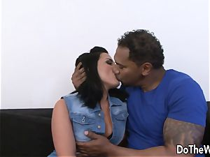 brown-haired wifey Tiffany takes giant ebony wood in her donk