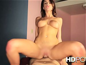 HD pov sizzling brunette with gigantic milk cans likes to juggle spunk-pump