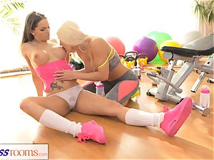 fitness rooms Fit big globes lezzie babes have molten hump