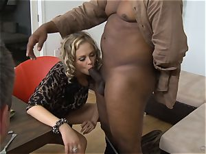 Frustrated wife Katie Kox gets porked on a table in front of her boy