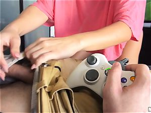 wonderful gamer Mia love button rails her boyfriends jizz-shotgun