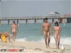 An utterly alluring nude beach voyeur video