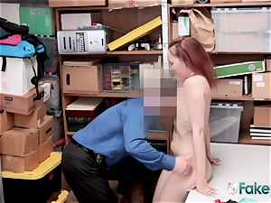 April lies on desk for officer to inhale her cootchie until they spunk