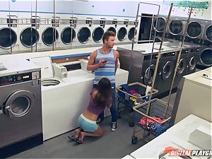 Dillion Harper banged in a laundry basket