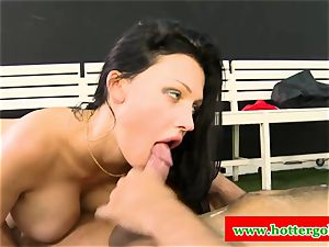 big-chested portuguese hoe nailed in bung