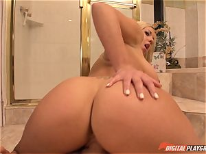 steaming blonde Olivia Austin caught playing with her labia in bathroom then plunged in her cooter