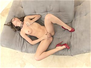slender Alexis Capri is warm and shaven and strokes until she pops