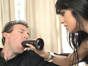 Angelina Valentine inserts a fuck stick into her mans butt