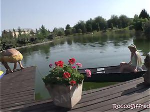Misha Crossrides Rocco's stiffy by the lake