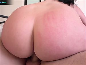 buxomy Sophie Dee using her mounds at the maximum level