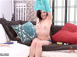 mischievous black-haired bangs her vulva