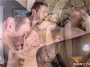 huge jugged Alison Tyler pummels her lover as she speaks to her man