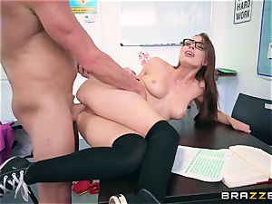Impudent lecturer bangs his unruly pupil Aidra Fox during the test