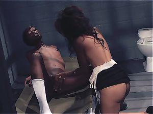 2 black sisters scissor in prison