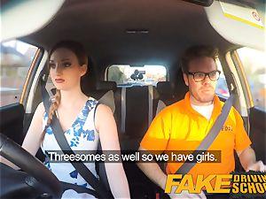 fake Driving school pinkish nips fat baps sandy-haired