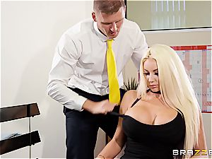 blonde bimbo ultra-cutie Nicolette Shea gets an unconventional interview for a job