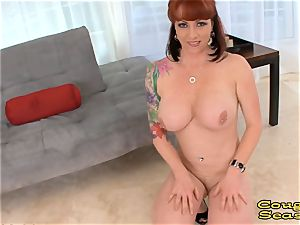 pov huge-chested sandy-haired milf deep throating