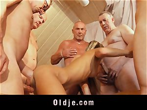 old school group smash featuring skinny young blond