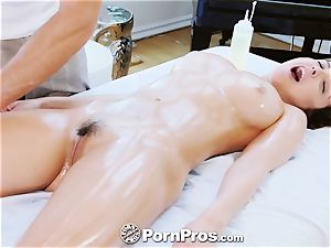 PornPros busty Dillion Harper massage pulverize and facial