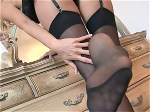 Solo honey Cody enjoy plays with her smoothly-shaven coochie