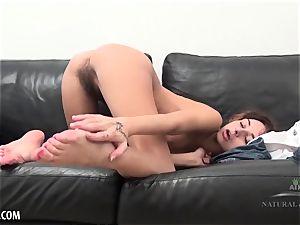 Dominika milks her edible rosy meat