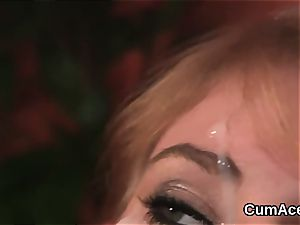 crazy peach gets spunk shot on her face guzzling all the stream