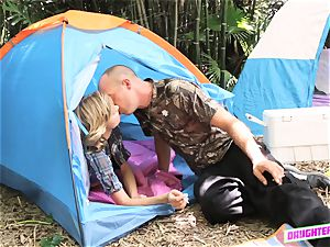 Alyssa Cole and Haley Reed exchange dads on their camping trip