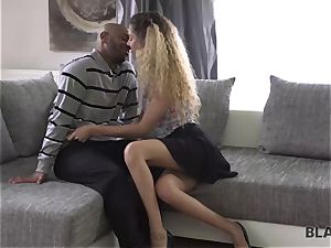 BLACK4K. Monique forest is absolutely glad in black on milky action