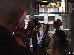 Spanish stunner takes restrain bondage in public bar