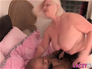 grannie loves phat dark-hued stiffy and snatch