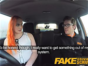 fake Driving college cool sandy-haired lusts after gigantic trunk