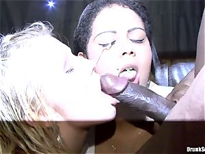 Bibi Fox and toasted friends enjoy ebony come on face