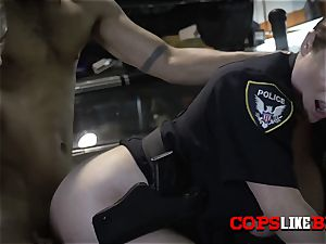 Shop holder is subdued to serve with super-naughty milf cops orders